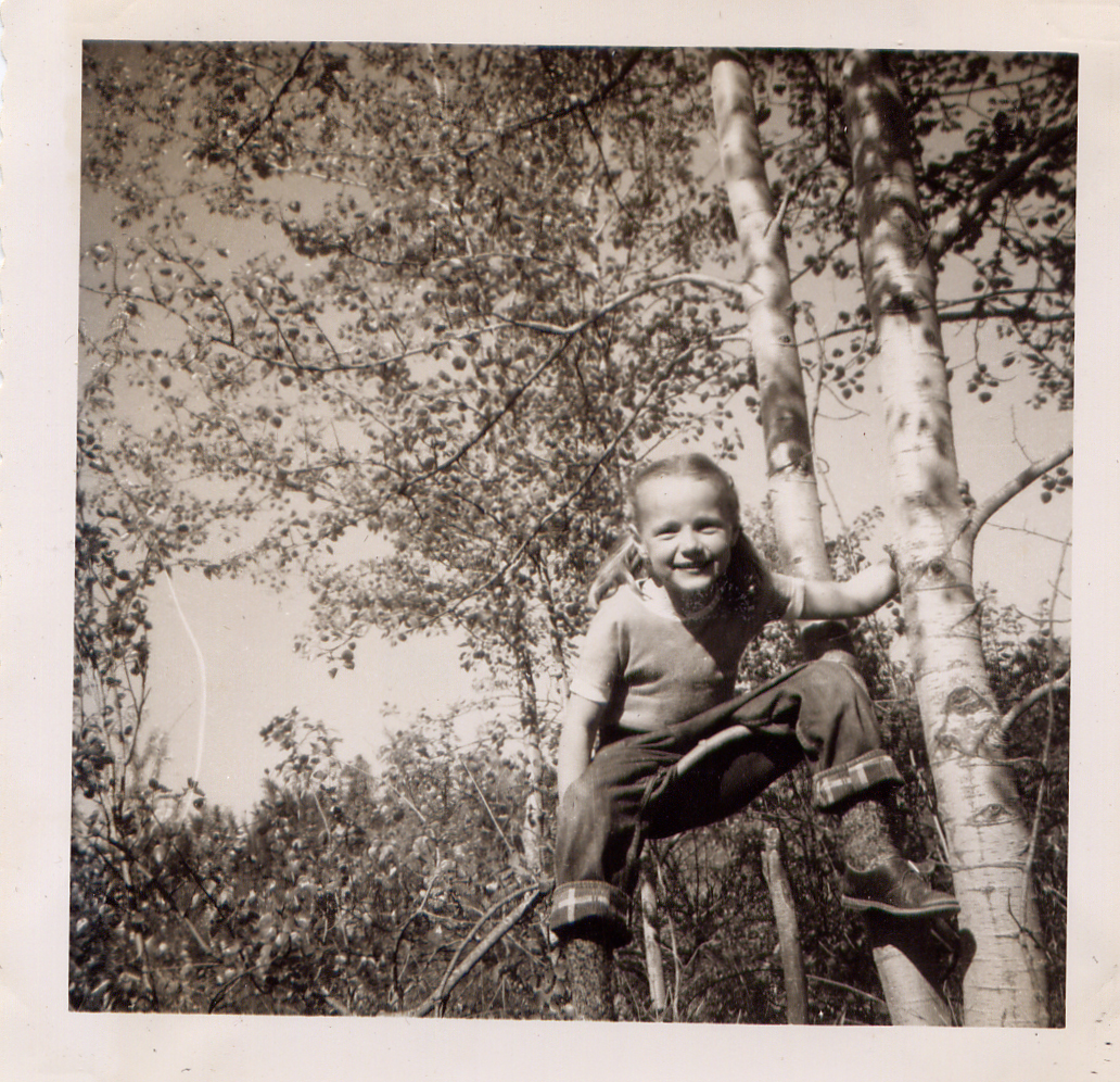 Me climbing a tree in 1954